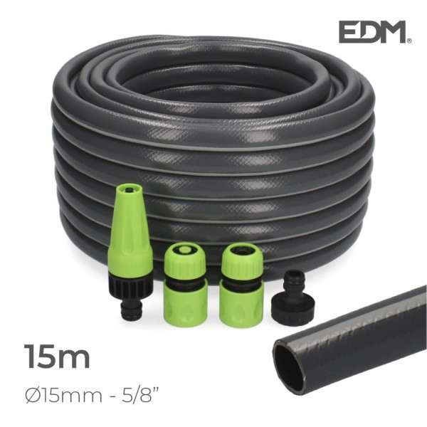"Kit manguera jardin con acces. ecolight ø inter.15mm, ø exter.  20mm (5/8"")  rollo 15m edm"